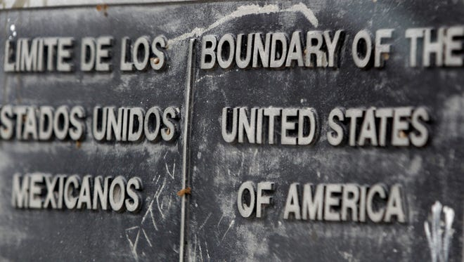 A boundary sign is seen at the Pharr International Bridge, Thursday, Jan. 27, 2011, in Pharr, Texas.