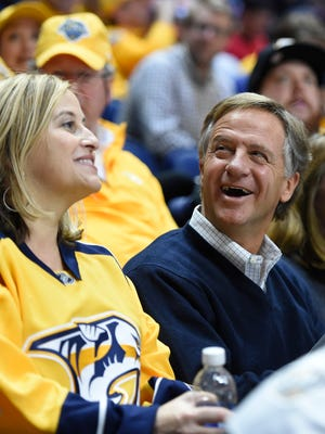 Nashville Mayor Megan Berry and Governor Bill Haslam  during the NHL All-Star Game at Bridgestone Arena on Sunday.