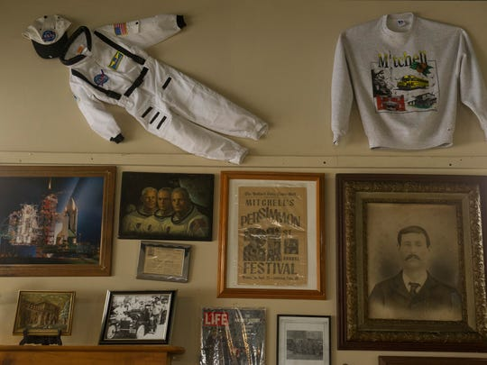 "Fun Finds Antiques in Mitchell, Ind., has a tribute wall to local astronaut legend Virgil I. ""Gus"" Grissom. Grissom was the second man in space."