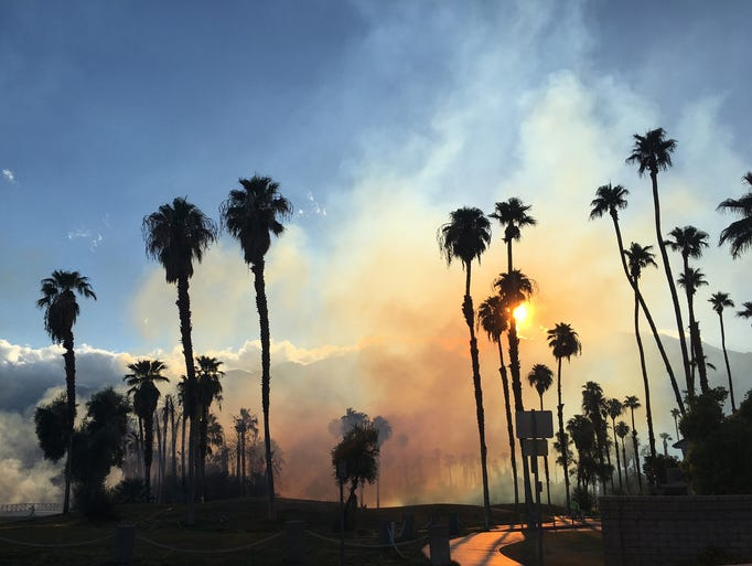Palm Springs Fire Department controls a fire on several