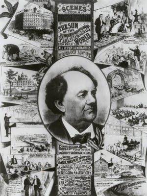 "The poster ""Scenes From a Busy Life,"" telling the history of P.T. Barnum, was printed by Strobridge Lithographing Co. of Cincinnati, circa 1881."
