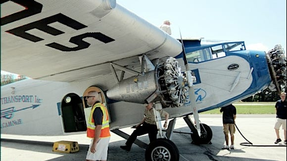 Close-up of 1929 Ford Tri-Motor Airplane while refueling between flights at New Garden Flying Field (2016 Photo by S. H. Smith)