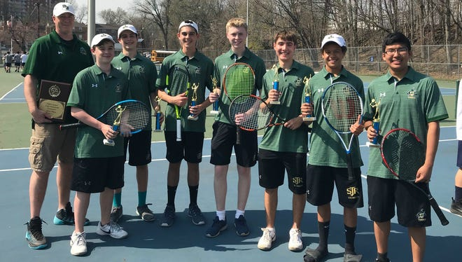 St. Joseph boys tennis team is off to a good start to the 2018 season. Left to right: Coach Jason Dates, Liam Ouderkirk, Kellen Moros, Nick Freeman, Tyler Conroy, Luke Farinella, Franklyn Falby, and Druk Lama