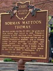 Historical marker honoring Norman Thomas.