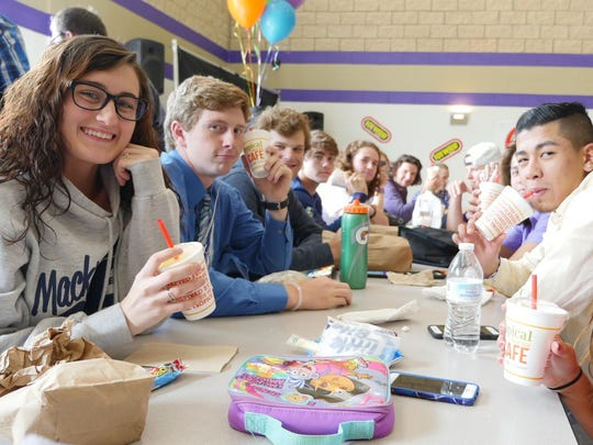 Fowlerville High School students enjoy smoothies from Tropical Smoothie Cafe.