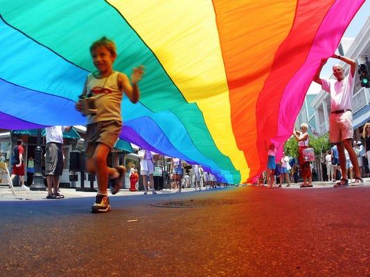 Gays celebrate rainbow creation