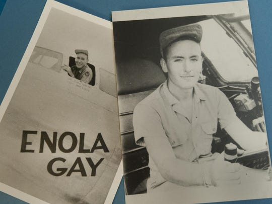 Norris Jernigan, 90, was part of the Enola Gay team that helped end WWII by dropping a bomb on Japan. He worked in the 393rd intelligence office in the then Army Air Corps. He was in service from June of 1943-March 1946. Jernigan, then 20, posed for these photos a week after the bomb-dropping mission for memories. Photo taken on Tuesday, August 4, 2015.