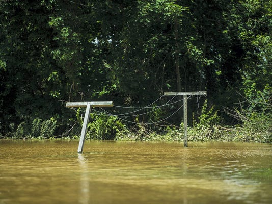 Clotheslines are submerged near Biglerville on Sunday after Saturday's heavy rains.