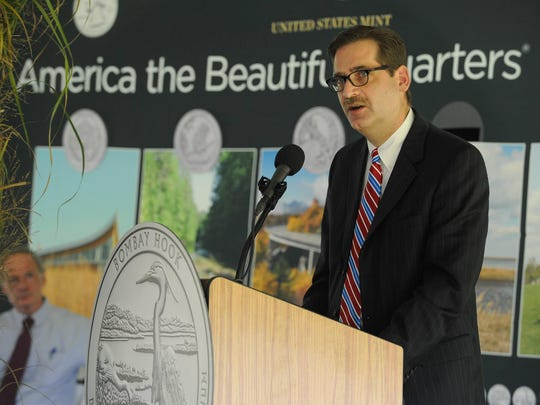 J. Marc Landry, plant manager at the U.S. Mint in Philadelphia, speaks Friday at the launch of Delaware's new quarter in the America the Beautiful Quarters Program at Bombay Hook National Wildlife Refuge near Smyrna.