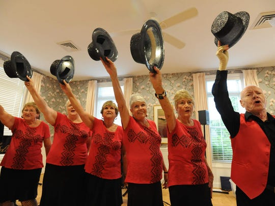 """Resident of Spring Meadow in Smyrna, Bette Ewing, left, Maryellen Brown, Marilyn Helton, Sharon LoRusso, Dorothy Kiefer and John Levine rehearse for their show in September at Maple Dale Country Club entitled """"Give Our Regards to Broadway."""""""