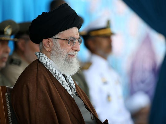 "In this picture released by the official website of the office of the Iranian supreme leader on Wednesday, Sept. 30, 2015, Supreme Leader Ayatollah Ali Khamenei attends a graduation ceremony of the Iranian Navy cadets in the Northern city of Noshahr, Iran. Iran's top leader on Wednesday warned Saudi Arabia of ""harsh"" measures if the kingdom fails to promptly repatriate the bodies of more than 200 Iranian pilgrims killed in last week's hajj stampede. (Office of the Iranian Supreme Leader via AP)"