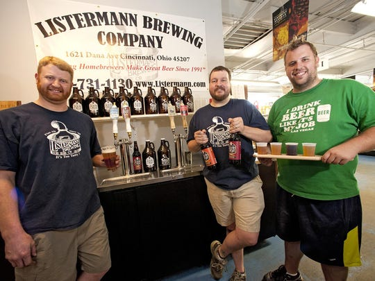 Asst. Brewer Phil Pointer, Head of Sales Chris Mitchell and salesman Jason Brewer at the Listermann Brewery Company.