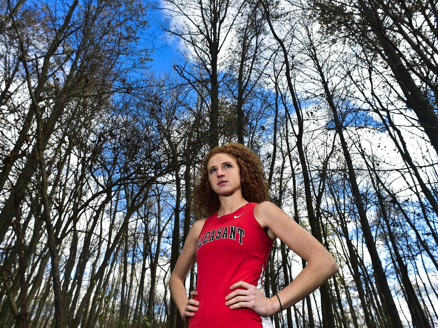 Female athlete of the month Hanah Peltier from Pleasant High School poses for a portrait on the Pleasant campus.