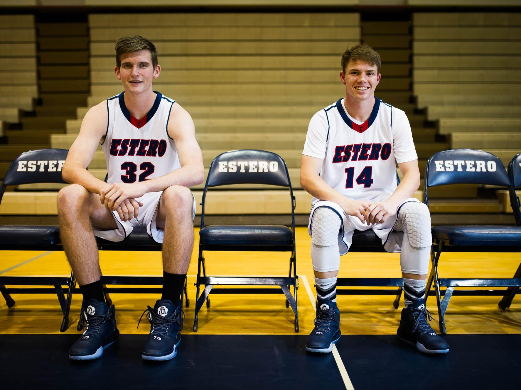 Estero High boy's basketball players Ryan Rocuant and Matt Deering, from left to right, pose for a photo during practice at Estero High School in Estero, Fla. on Friday, November 20, 2015