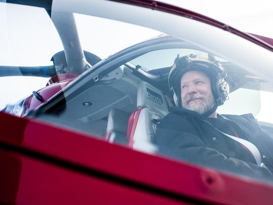 Joe Mulhern, Mercy Flight pilot, sits in Benefis Health System's EC-135 helicopter Thursday.