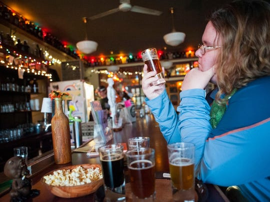 Tribune Montana Mystique Writer Kristen Inbody checks out the beer at Missouri Breaks Brewing in Wolf Point, on the way to Westby.