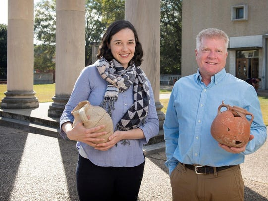 Assistant Professor Kate McClellan and Associate Professor Jimmy Hardin, pictured at Mississippi State University's Cobb Institute of Archaeology, are receiving a federal overseas-study award to the Middle East.