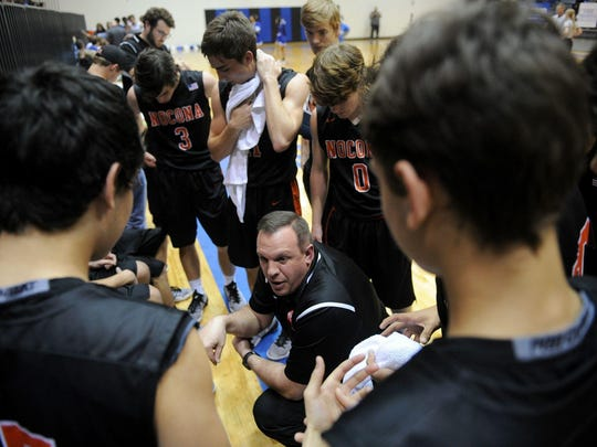 Nocona head boy basketball coach Bret Botard (center) has led the Indians to their first regional tournament appearance since 1986.