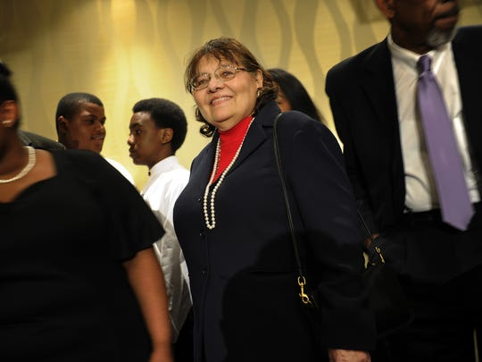 Diane Nash smiles after speaking, to a group in Nashville, Tenn., in 2013, about her role in the Civil Rights Movement.