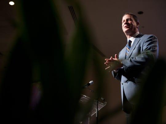 Lee Strobel speaks Thursday to a crowd during the Lifeline