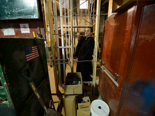 Green Bay Mayor Jim Schmitt checks out the ongoing work to Backstage at the Meyer in downtown Green Bay.