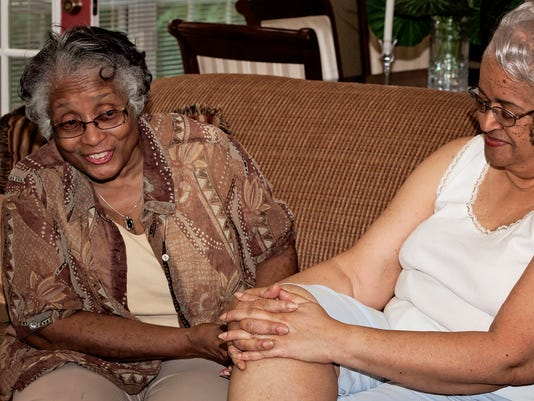 4 Janis Horton and Martha Gregory laugh while reminiscing Sunday afternoon. .jpg