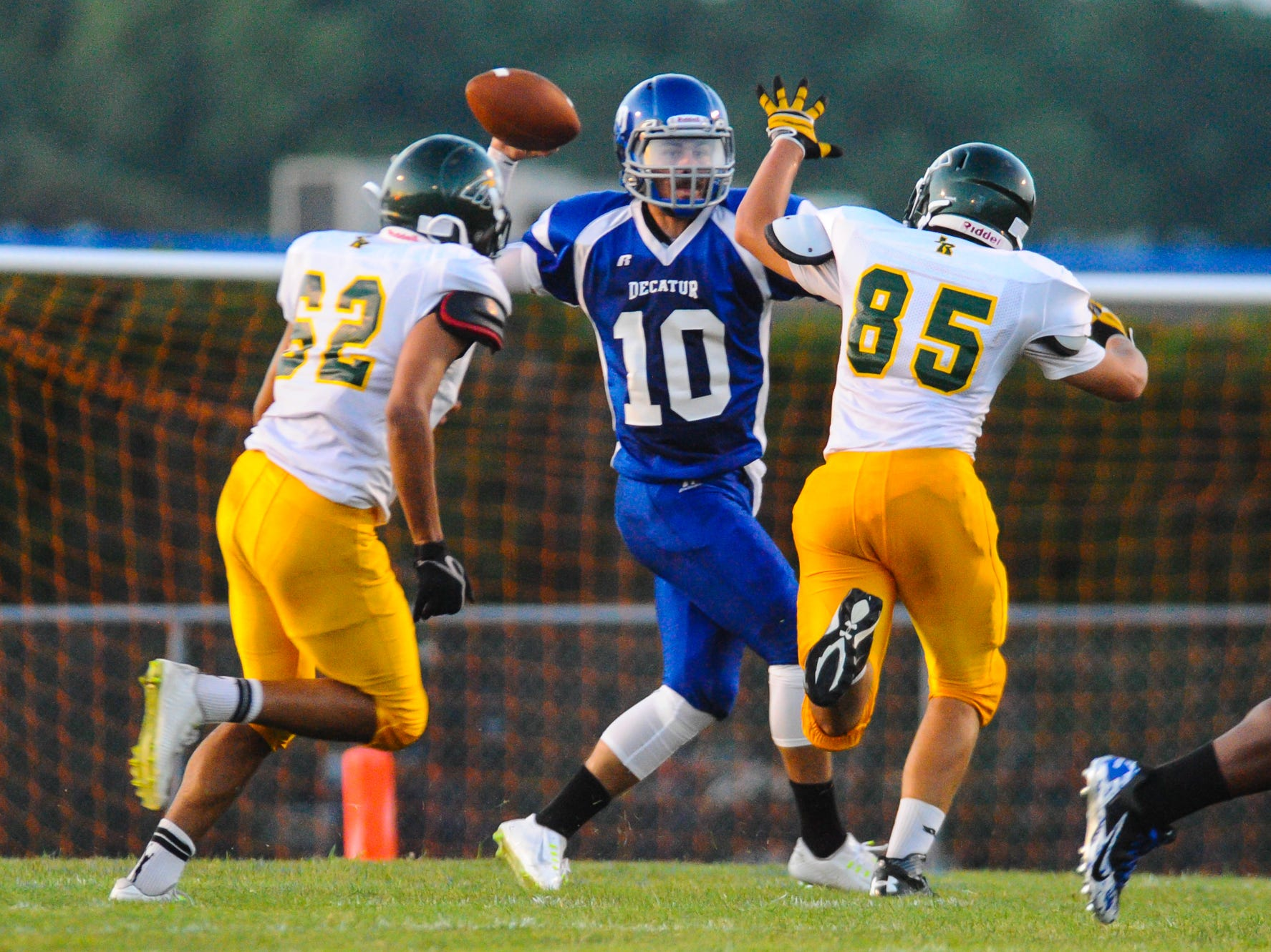 Stephen Decatur quarterback Justin Meekins drops back for a pass against Indian River on Friday night in Berlin.