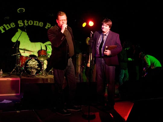 Stone Pony house promoter Kyle Brendle (left) and Saint owner Scott Stamper welcome fans at the 2010 Asbury Music Awards.