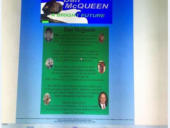 This page on Mayor Dan McQueen's website has been deleted.