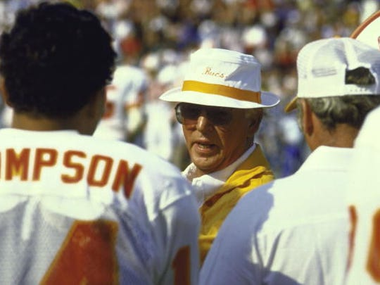 Football: Hall of Fame Game, Closeup of Tampa Bay Buccaneers coach John McKay with team during game vs Seattle Seahawks, Canton, OH 7/28/1984