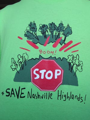Some Nashvillians in support of conserving 200 acres called Nashville Highlands wore these shirts at a Metro Planning Commission meeting last summer.