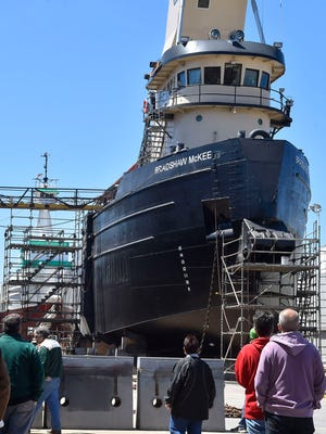 Guests check out the tugs Bradshaw McKee, front, and the G.L. Ostrander at Fincantieri Bay Shipbuilding during the 2017 Shipyard Tours sponsored by the Sturgeon Bay Rotary Club.