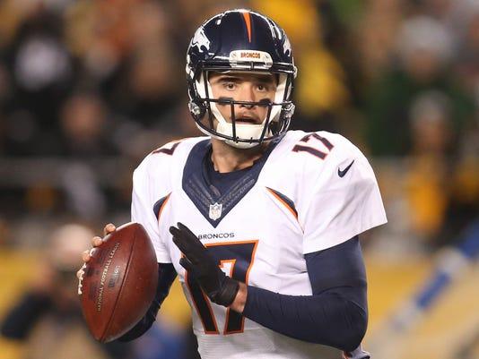 56115a96f NFL  Denver Broncos at Pittsburgh Steelers. Denver Broncos quarterback  Brock Osweiler ...