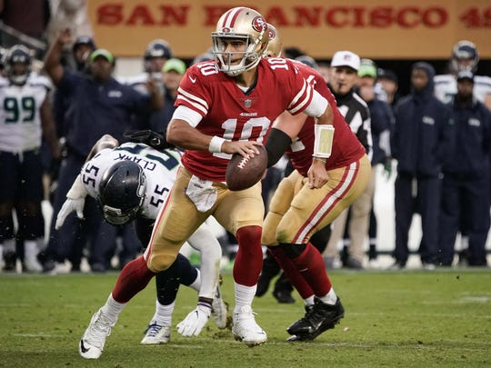 30. 49ers (30): Jimmy Garoppolo's QB rating as a Niner is 143.7, far better than Steve Young or Joe Montana. So what the heck are we waiting for, Coach Shanahan?