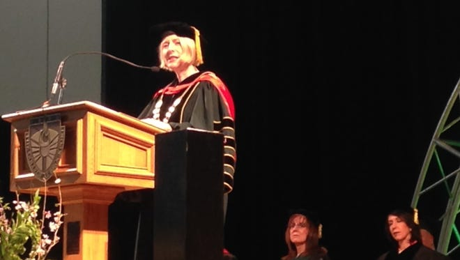 The College at Brockport's new president Heidi Macpherson speaks at her inauguration ceremony on April 29, 2016.