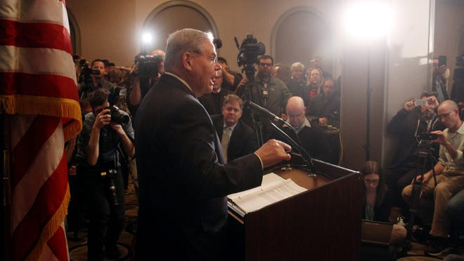 Senator Robert Menendez holds a press conference to address his indictment on corruption charges on April 1, 2015, in Newark.