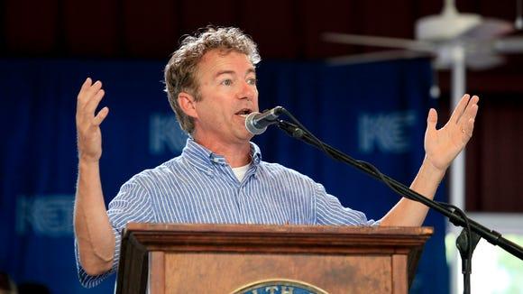 U.S. Sen. Rand Paul spoke to the crowd during the Fancy Farm Picnic.  Aug. 2, 2014