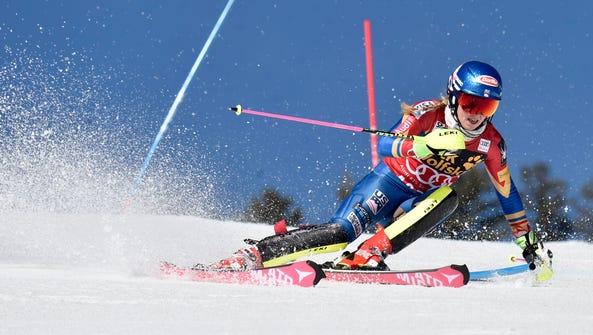 Mikaela Shiffrin of the United States during the women's