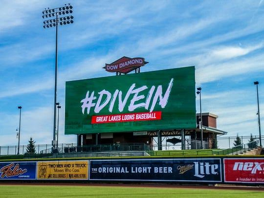 The Great Lakes Loons have installed a 2,500-square-foot videboard beyond the outfield wall at Dow Diamond.