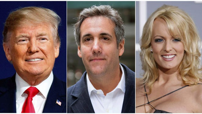 President Trump, attorney Michael Cohen and adult film actress Stormy Daniels.