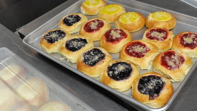 A tray of kolaches is ready for sale on the Texas Doughboys food truck on Aug. 30, 2017, while parked at Mad Coffee and More.
