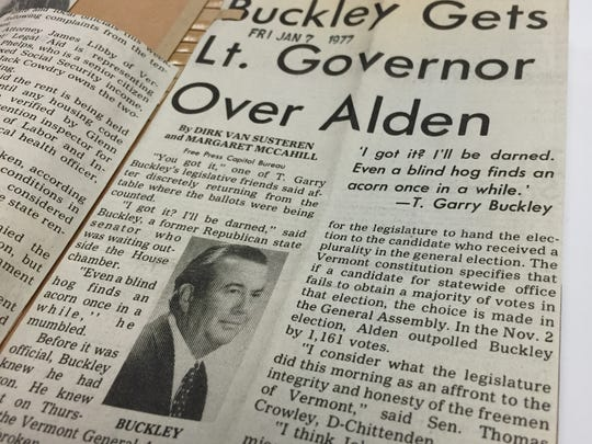Burlington Free Press news coverage of the Legislature's election of T. Garry Buckley as lieutenant governor over John T. Alden in January 1977.