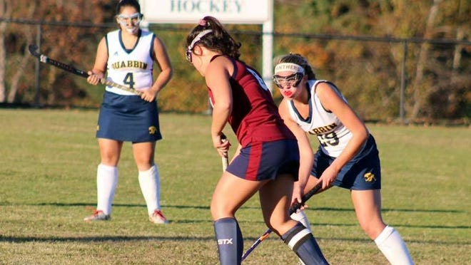 A four-year member of the Quabbin Regional field hockey team, Mackenzie Hosley, right, will further her education at Fitchburg State University and play field hockey for the Falcons in the fall.