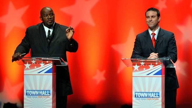 United Citizens candidate Morgan Bruce Reeves (left)  and Libertarian Steve French (right) took part in a televised debate at Furman University's McAlister Auditorium in Greenville on Tuesday, October 21, 2014.