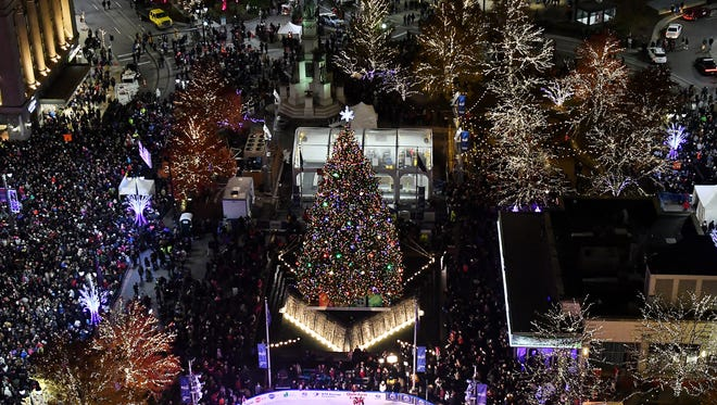 The lights are turned on at the 14th Annual Detroit Christmas Tree Lighting.
