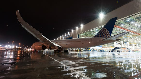 UNITED ROLLS OUT OF ASSEMBLY PLANT - courtesy United Airlines