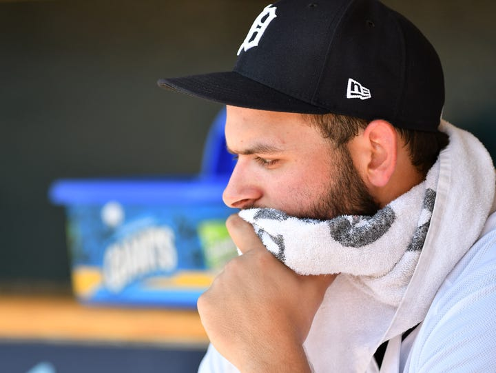 Tigers pitcher Michael Fulmer in the dugout in the