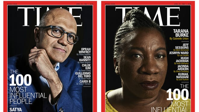 Time created six different covers for its 2018 Time 100 Most Influential people in the World issue featuring (clockwise from top left): Jennifer Lopez,  Satya Nadella, Tarana Burke, Tiffany Haddish, Nicole Kidman and Roger Federer.
