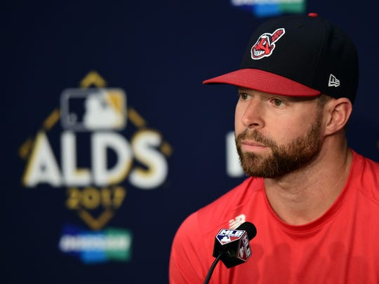 Cleveland Indians starting pitcher Corey Kluber answers