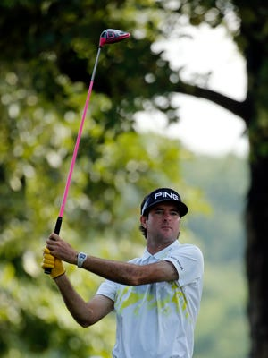 Bubba Watson watches his tee shot on the 15th hole during the second round of the PGA Championship golf tournament at Baltusrol Golf Club in Springfield, N.J., Friday, July 29, 2016. (AP Photo/Mike Groll)